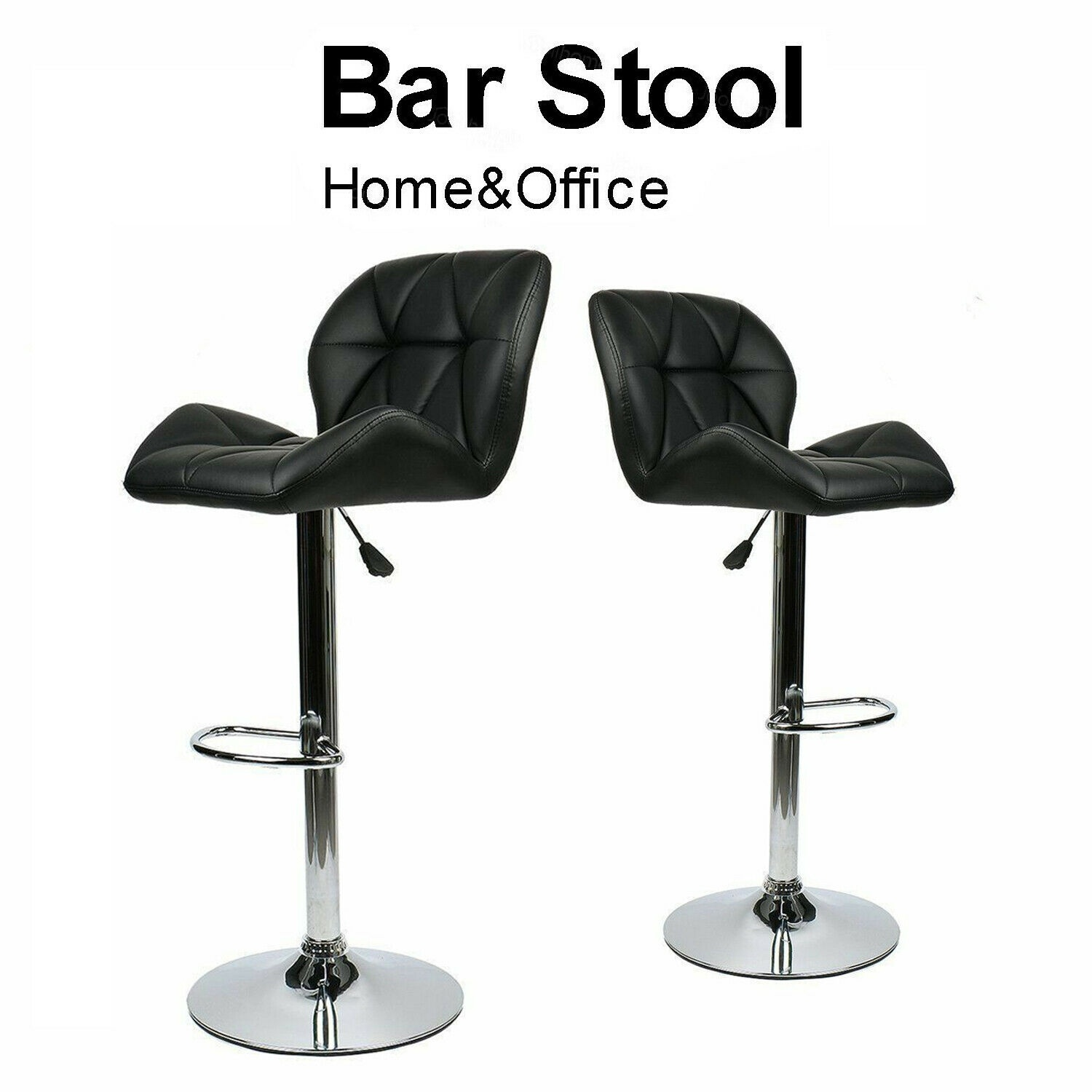 Set Of 2 Counter Height Faux Leather Bar Stools Adjustable Swivel Kitchen Chairs