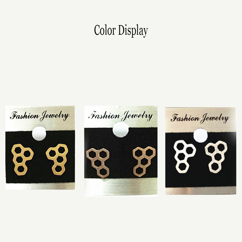Fashion Hollow Honeycomb Stud Earrings For Women Stainless Steel Geometric Gold Brincos Bijoux Jewelry Accessories Orecchini in Stud Earrings from Jewelry Accessories