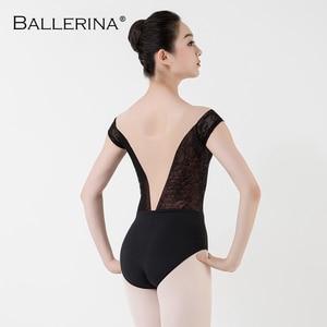 Image 2 - Balletto body delle donne Pratica manica corta Costume di Ballo sexy della maglia ginnastica in oro Rosa Del Merletto Body Adulto Ballerina 3503