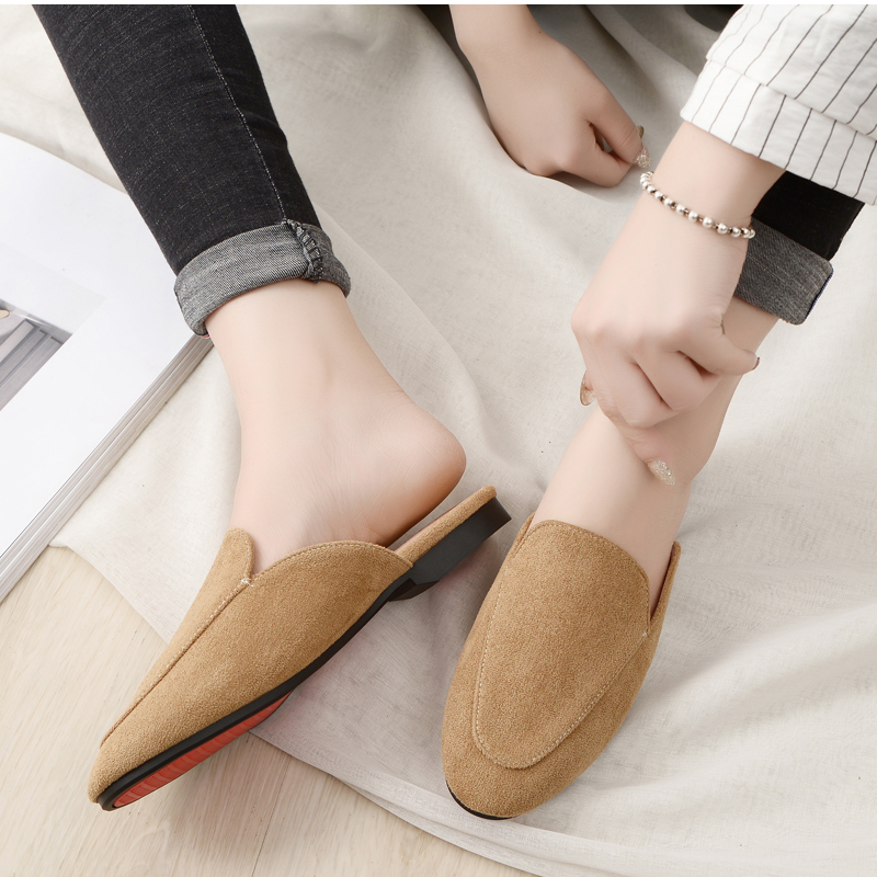Women Slipper Shoes Half Slippers Mules Flats Shoes 2019 New Female Casual Ponited Flats Loafers Solid Color Mules Flat 2