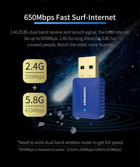 Dwuzakresowy Adapter USB Bluetooth Dongle 650M bezprzewodowa sieć WiFi karta LAN + Adapter Bluetooth V4.2 do komputera stacjonarnego