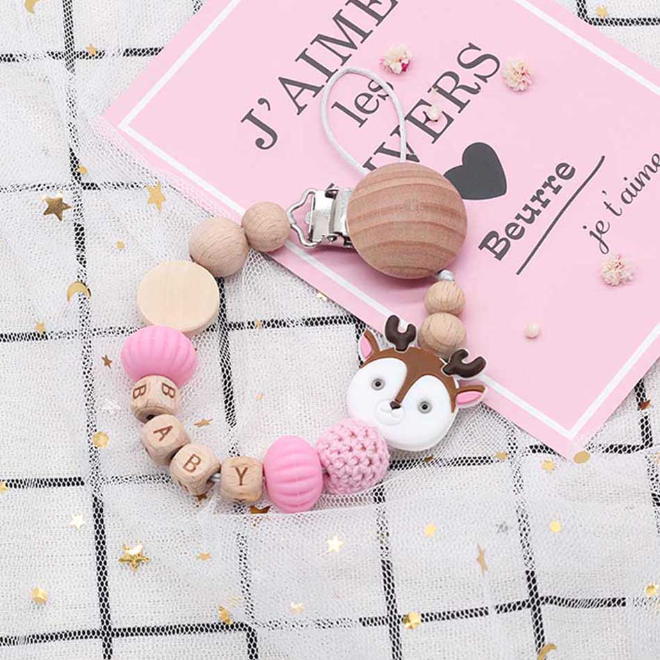 Personalized Name Baby Pacifier Clips Silicone And Natural Wood Constitute Baby Teether Pacifier Clips Newborn Baby Shower Gifts