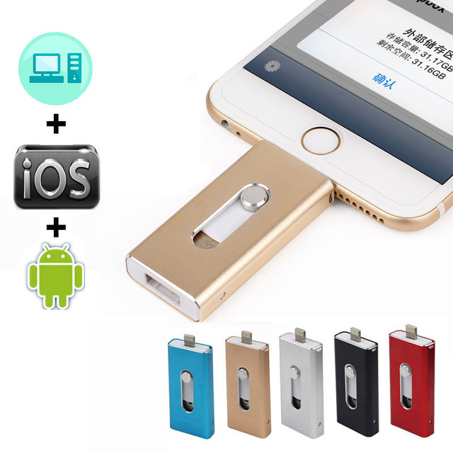 USB Flash Drive 128GB 64GB 32GB 16GB 8GB For IPhone 7 Plus IOS Android Phon Flash Drive Lightning Pen Drive 3 In 1 Memory Stick