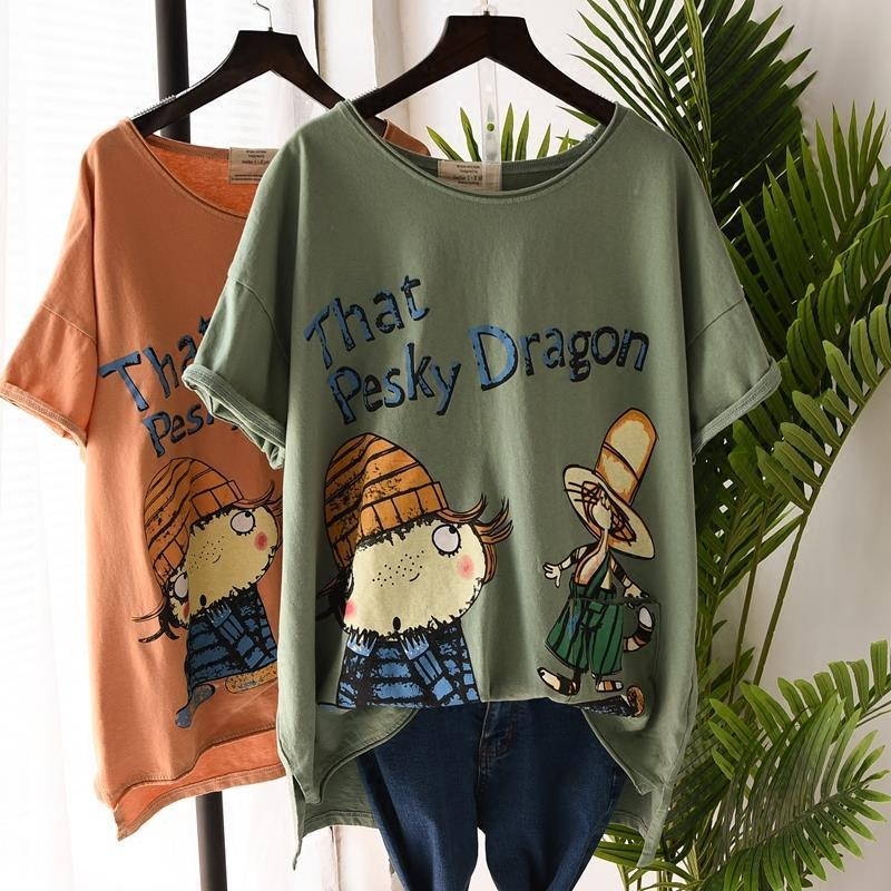 2020 Summer New Style Large Size T shirt WOMEN'S Short Sleeved Korean Style Loose Casual Fat mm 200 Cartoon Printed Front Short|T-Shirts| - AliExpress