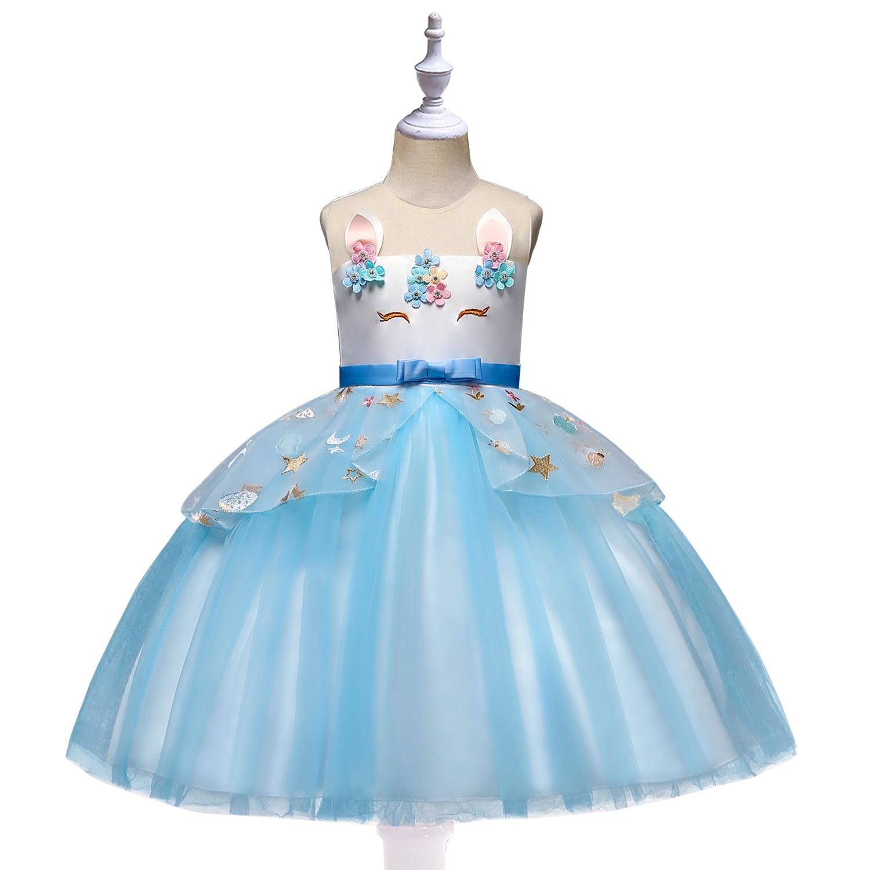 CHILDREN'S Full Dress 2019 Summer New Style Girls Dress Princess Flower Boys/Flower Girls Wedding Dress Unicorn Childrenswear