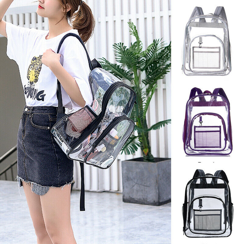 Women Backpack Clear Transparent PVC Multi-pockets School Bag Travel Backpack AU