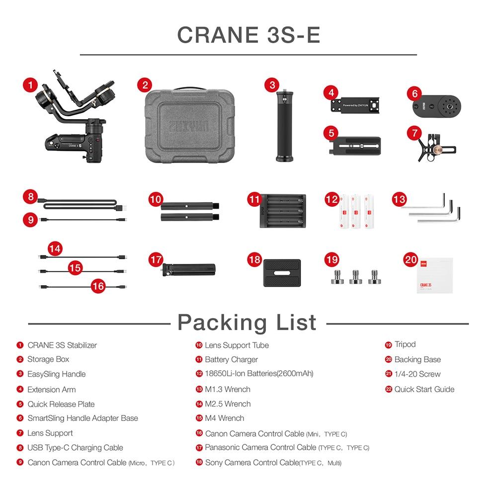ZHIYUN vinç 3S S-E 3 oxlu el gimbal simsiz 1080p FHD DSLR kamera - Kamera və foto - Fotoqrafiya 6