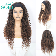Ombre Brown Headband Synthetic Braided Wigs For Black Women 24 Inch Fluffy Natural Glueless Hair Wig SOKU Faux Locs Curly Hair