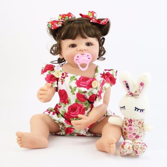 55cm pełna silikonowa obudowa Reborn laleczka bobas zabawka dla dziewczyny winylu noworodka księżniczka dzieci Bebe kąpać towarzyszące zabawki prezent urodzinowy