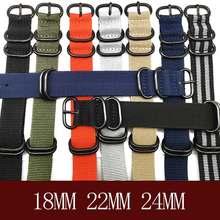 Marca resistente correias de náilon 20mm 22mm 24mm náilon pulseira de relógio nato cinta zulu pulseira de relógio anel fivela 280mm nato pulseira