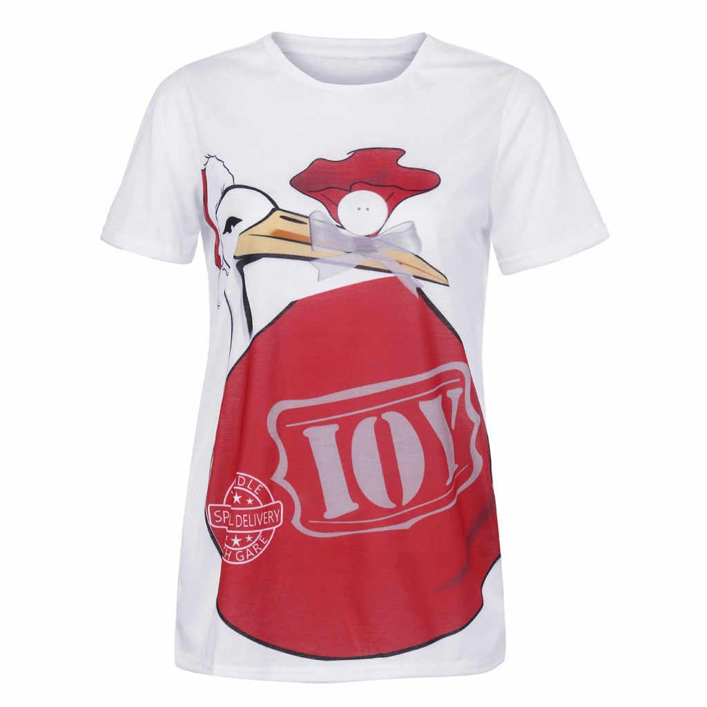 Tops Shirts Maternity Cute Funny Pattern Print Short Sleeve Casual T Shirt Pregnant Tops Southwestcarpets