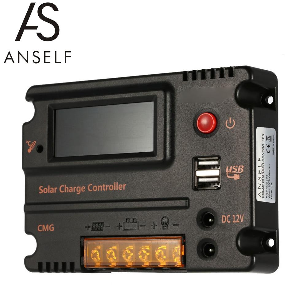 anself 20a 12v 24v lcd controlador de carga solar painel regulador de bateria interruptor automatico protecao
