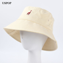 USPOP 2020 casual bucket hats women cute giraffe embroidered hat spring summer cotton flat sun