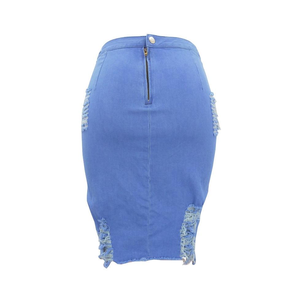 2019 summer Women's A-line Hole Skirt High Waist Ripped Denim Distressed Bodycon Female Pencil Mini Jean Skirt Casual 13