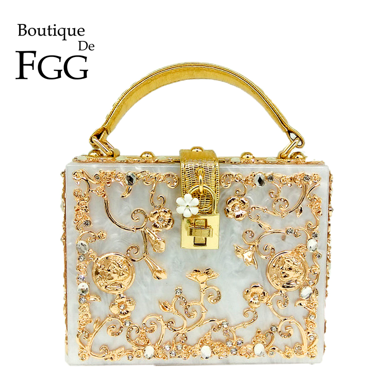 Boutique De FGG Fashion Crystal Flower Women Black Acrylic Shoulder Handbag Crossbody Bag Hardcase Evening Totes Box Clutch Bag