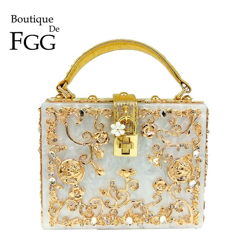 Boutique de Fgg Bolsa de Ombro Moda Cristal Flor Feminina Preto Acrílico Crossbody Bolsa Hardcase Noite Totes Caixa Embreagem