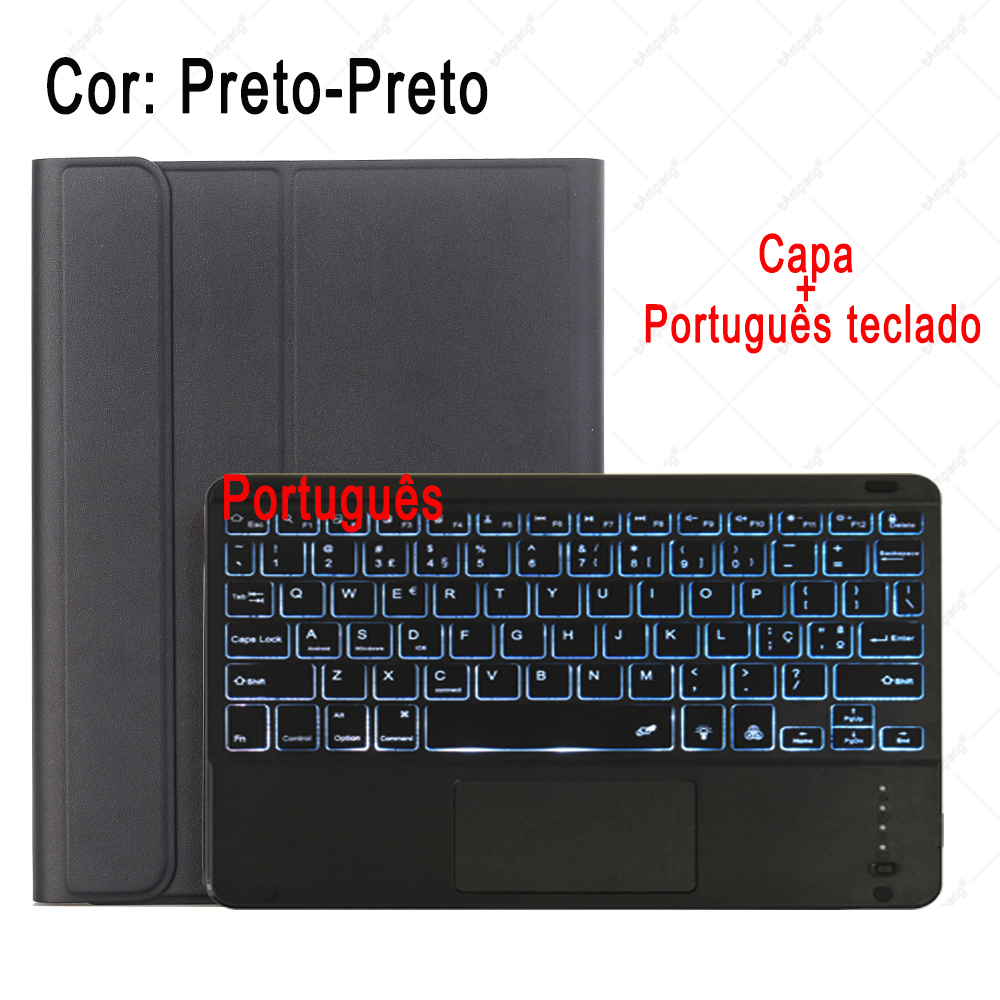 Portuguese Keyboard Slate Gray For iPad 7th 8th Generation 10 2 2019 A2200 A2198 A2232 Case with Backlit Touchpad Keyboard