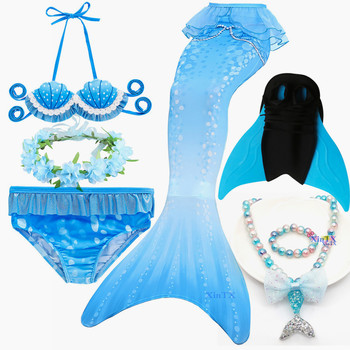Children Fancy the Little Mermaid Tail with Monofin Bathing Suit for Girls Crown Costume Can Add