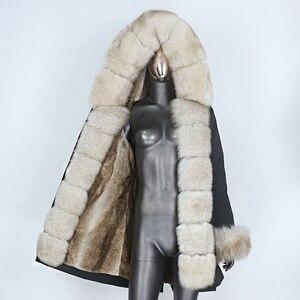 BLUENESSFAIR 2020 Waterproof Parka Real Fur Coat Winter Jacket Women Natural Fox Fur Collar Hood Thick Warm Outerwear Streetwear