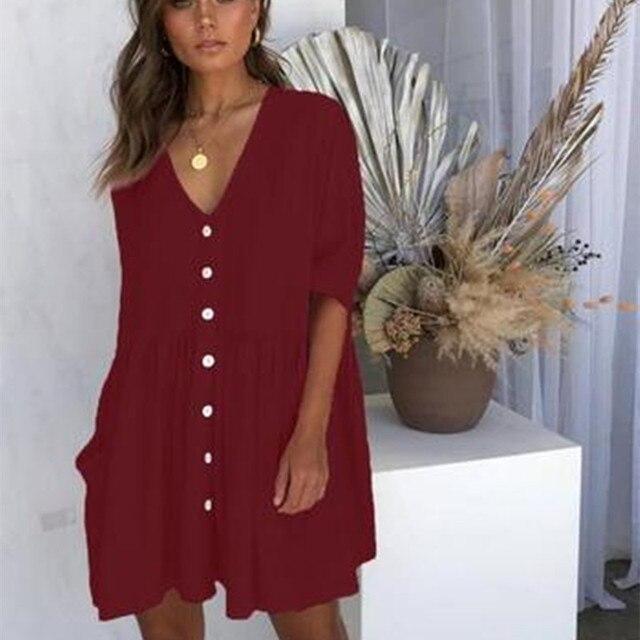 Baggy V-Neck Short Dress Button-Up Front 6