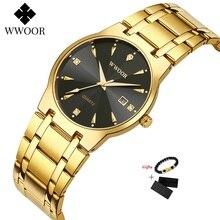 Дата WWOOR часы 50M водонепроницаемый мужские часы верхний Марка роскошь золото черный кварцевые мужские часы Наручные часы золотой мужской наручные часы