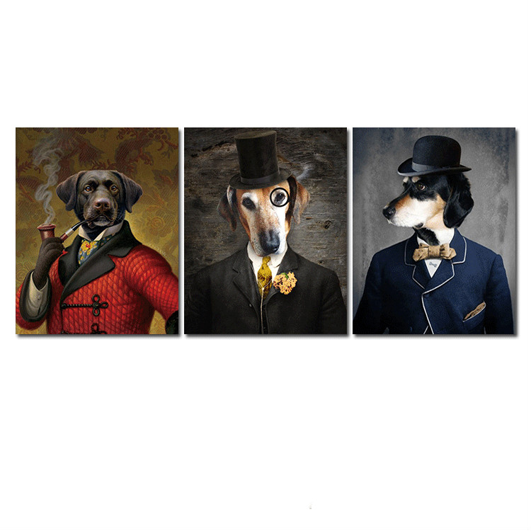 Dog In Suit Animal Print Hanging Painting Cute Funny Retro Pet Bedroom Living Room Canvas Painting Oil Painting Wall Art Picture image