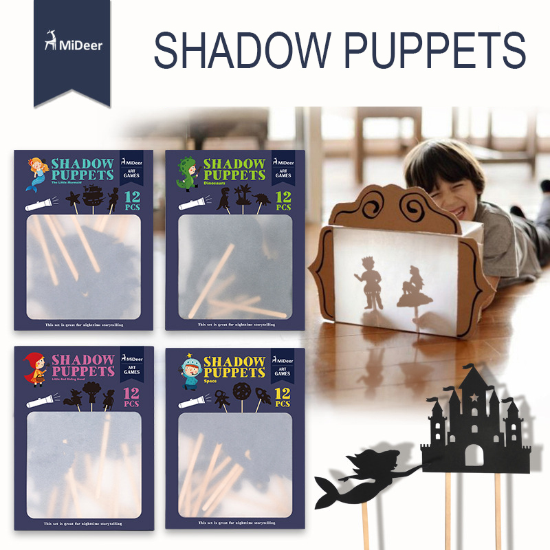 MiDeer Children Shadow Puppets Games Ombre Burattini Silhouette Game Projection Game Shadow Picture Parent-child Game Kids 3Y+