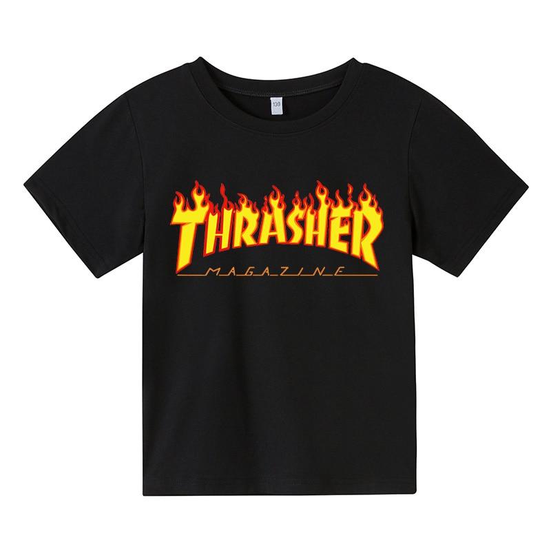 Summer children's wear flame solid color children's T-shirt fashion slim children's cotton T-shirt clothes for teens