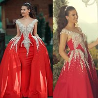 Gorgeous Red Prom Dresses With Detachable Train Lace Crystal Beaded Evening Dress Elegant Arabic Formal Gowns Party Wear