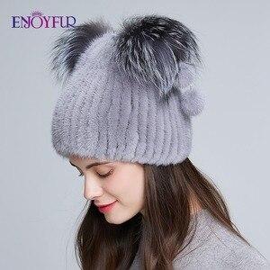Image 3 - ENJOYFUR chapeau en fourrure véritable pour femmes, avec pom poms en fourrure, joli chapeau de style doreille pour chat, hiver et automne