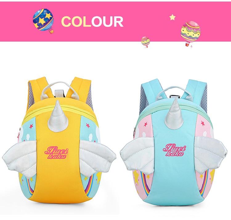 Nylon Fabric Panelled Preschool Backpack Baby Girls Mini Unicorn School Bags for Toddler Kids Cute Cartoon Casual Back Pack Blue (4)