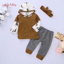 OKLADY Newborn Baby Boy Clothes Winter Infant Girl Set Autumn Toddler Unisex Clothe Hoodies Trousers Headband 1