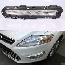 DRL Driving Daytime Running Light fog lamp 12V Relay Daylight Yellow turn signal 2Pcs for Ford Mondeo 2011 2012 2013