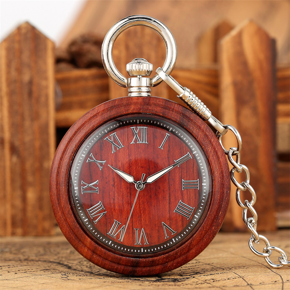 Classic Roman Numerals Display Full Wooden Pocket Watch Quartz Clock Bronze/Silver Hanging Pendant Chain Retro Timepiece