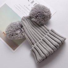 Детская шапка для малышей, Детская Зимняя шерстяная шапка для маленьких девочек и мальчиков, вязаная шапка с меховым помпоном, теплая шапка ...