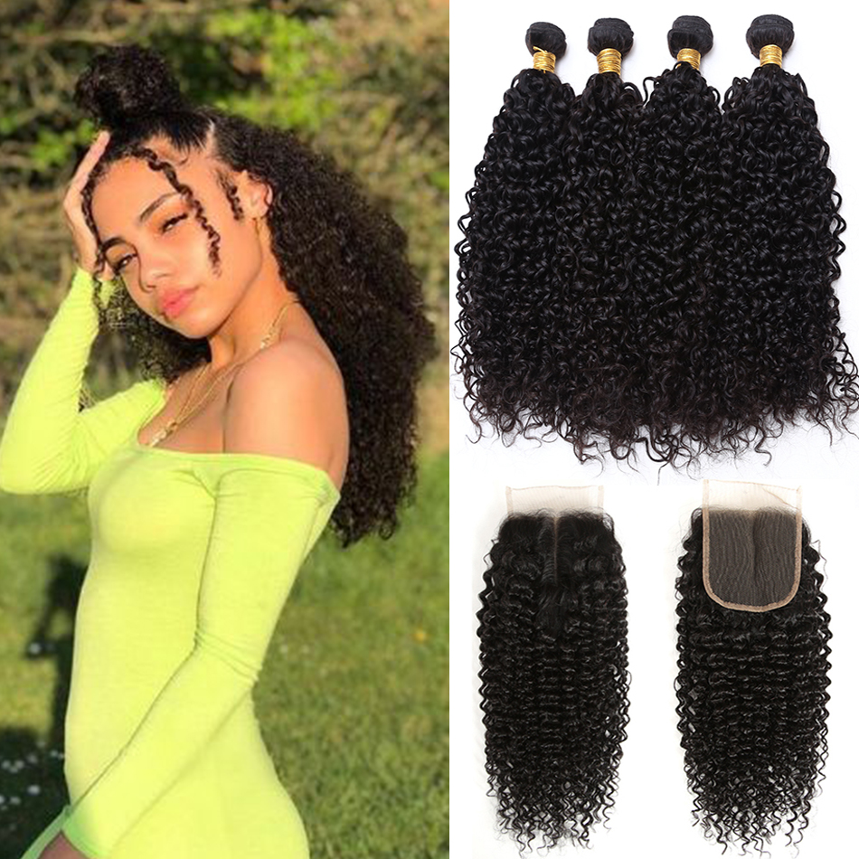 10a Mongolian Kinky Curly Bundles With Closure Cheap Human Hair Bundles With Closure Tissage Cheveux Humain Hair Extension