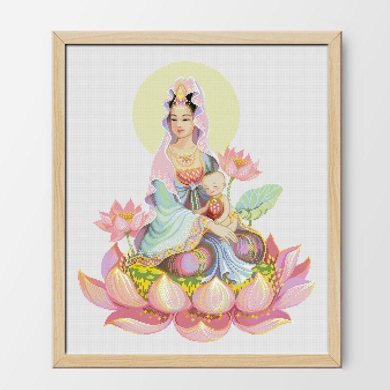 Fishxx imprimé sur toile DMC compté chinois point de croix Kits set broderie couture Guanyin bouddha