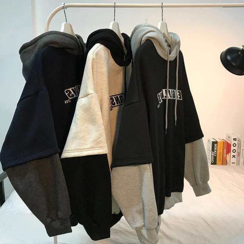 Tripleleaf outono e inverno roupas escovado e grosso hoodie com capuz masculino solto estilo coreano estudantes all-match