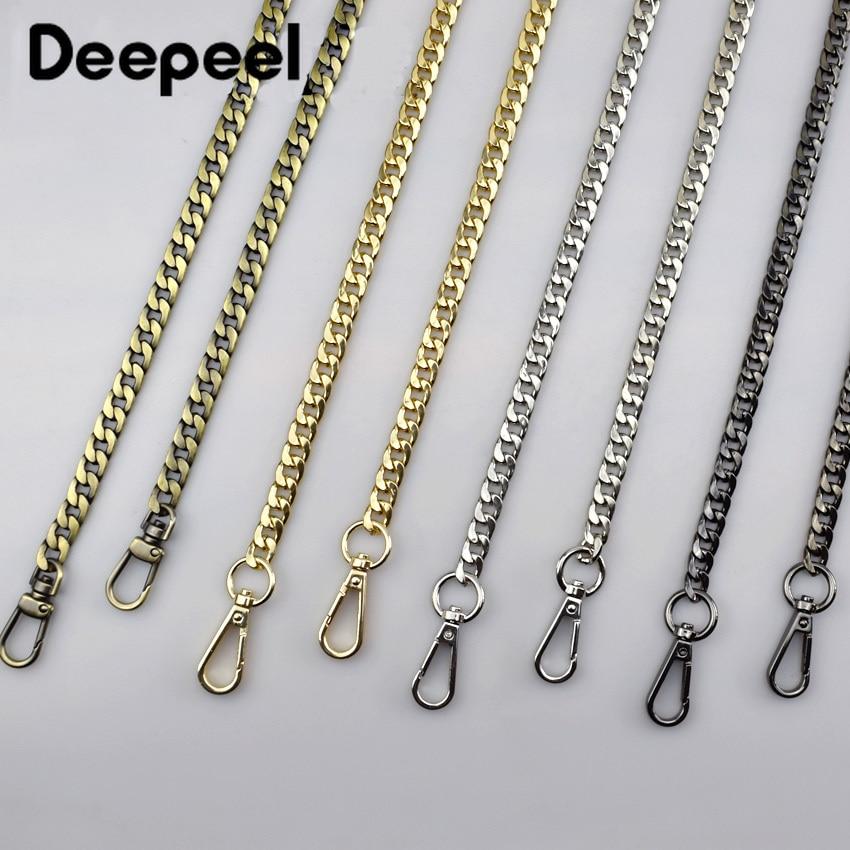 Deepeel Width 9mm Shoulder Bag Straps Metal DIY Bag Replacement Chain Buckle 50cm-130cm Handbag Purse Handles Parts Accessories