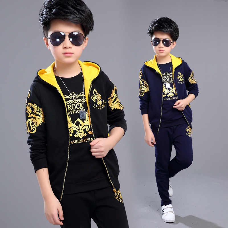 Sports Suit for Boys 3PCS/Set Children's Suit Cotton Hooded Vest + T Shirts  + Pants Boys Kids Sportswear Tracksuit for Girls Clothing Sets  - AliExpress
