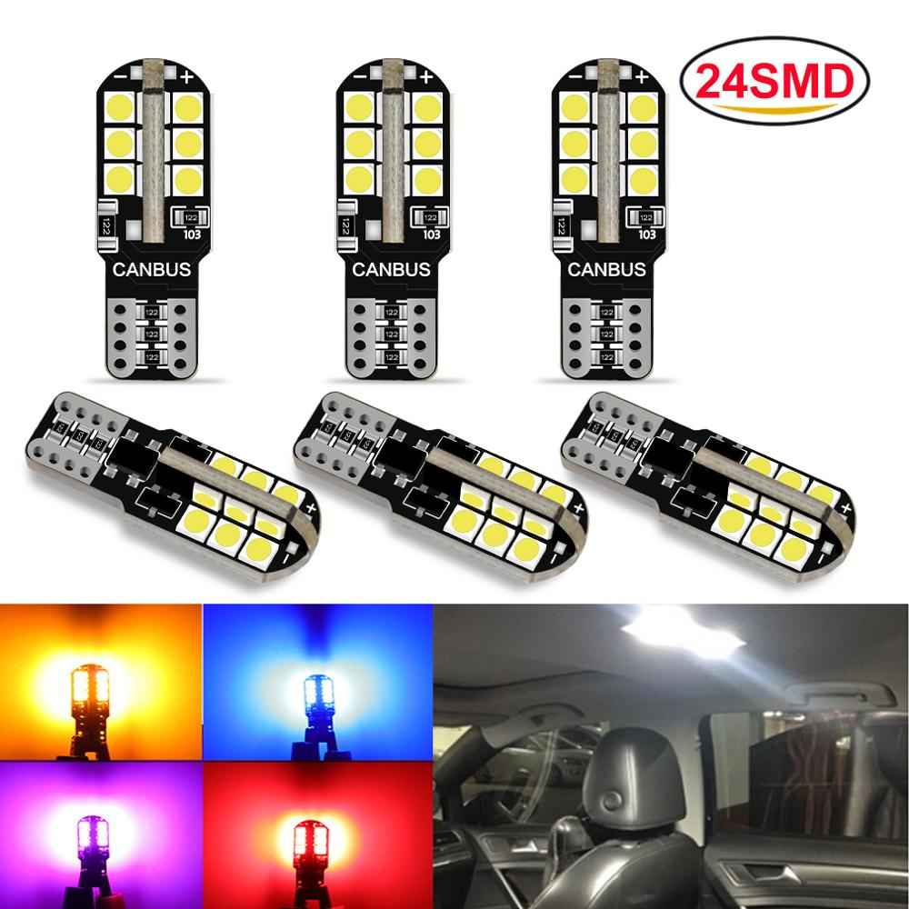 6pcs T10 W5W Led Bulb 194 168 24SMD 3030 Chips Canbus Error Free 6000K Pure White Wedge Door Instrument Side Bulb Lamp 12V