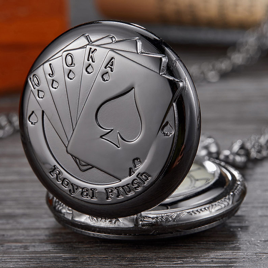 Royal Flush Poker Card Quartz Pocket Watch Black Small 2.5cm Diameter Fob Watches Necklace For Men Bronze Kids Children Clock
