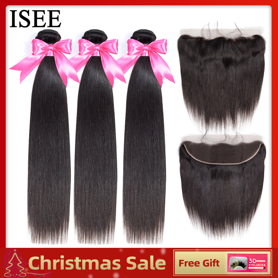 ISEE HAIR Human Hair Bundles With Frontal 13*4 Pre Plucked Lace Frontal Remy Peruvian Straight Hair Bundles With Frontal