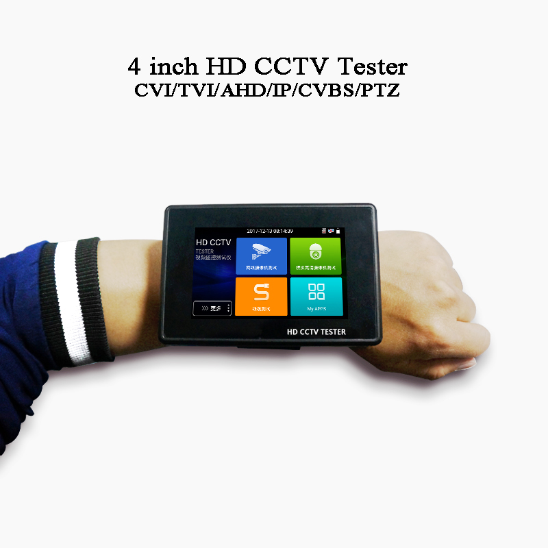 4 Inch Wrist Portable IP Analog Coaxial Camera Test CVBS 8MP CVI TVI AHD PTZ Control RJ45 Cable TDR Test Rapid ONVIF CCTV Tester