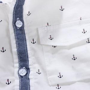 Image 5 - Enfants chemises impression ancre motif coton 100% à manches longues garçon chemises idéal pour 3 14 ans enfants vêtements