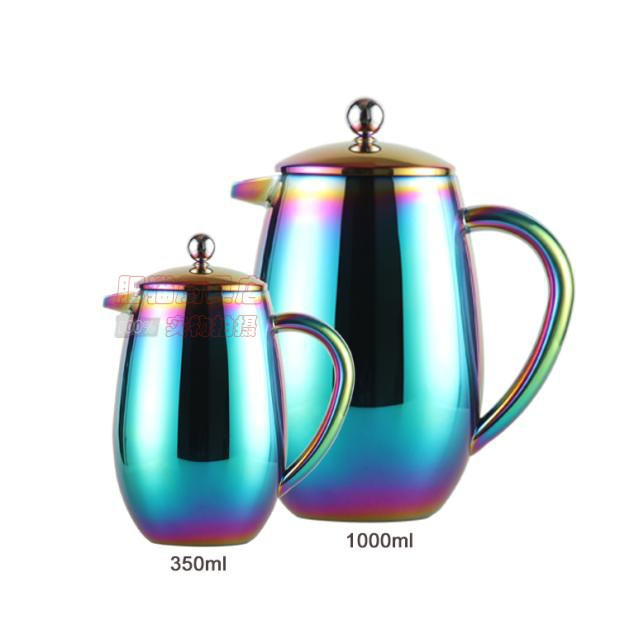 New magic color double layer stainless steel filter press hand coffee pot thermal insulation tea maker kettle|Coffee Pots|   - title=