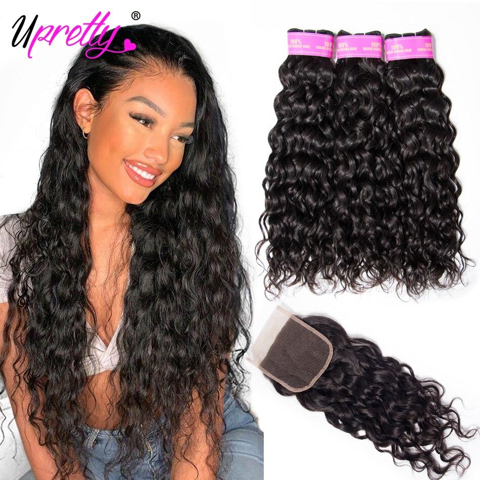 Upretty Hair Water Wave Bundles With Closure Wet And Wavy Human Hair 3 Bundles With Closure Mink Brazilian Hair Weave Bundles