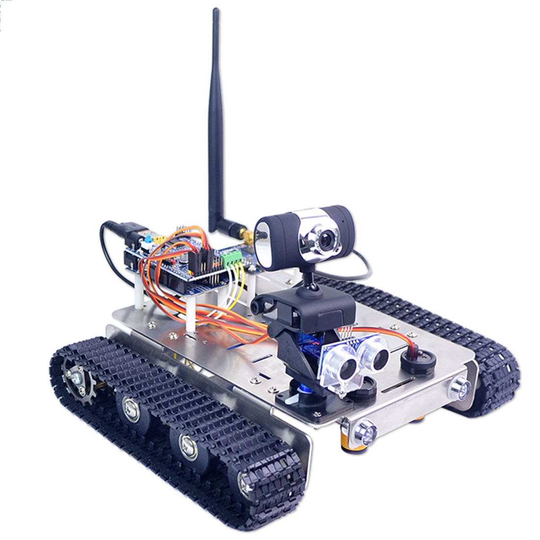 Programmable Robot DIY Wifi + Bluetooth Stainless Steel Chassis Track Tank Steam Educational Car With Graphic Programming XR