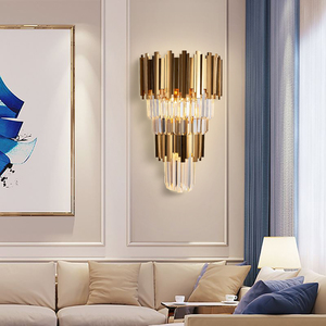 Image 2 - Youlaike Gold Modern Wall Sconces Lighting AC110 240V Two Level Crystal Wall Lamp Bedside Living Room Crystals Light Fixture