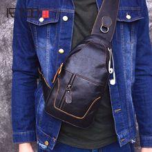 AETOO sacs à bandoulière en cuir véritable pour hommes, sacoche à épaule de poitrine Pack